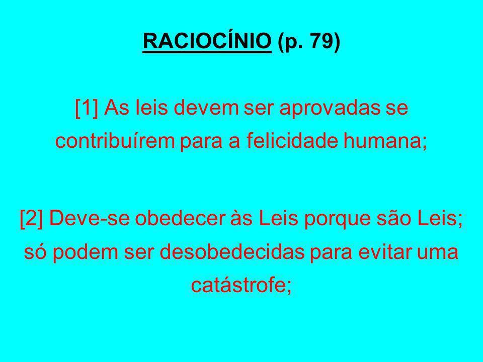 RACIOCÍNIO (p. 79) [1] As leis devem ser aprovadas se contribuírem para a felicidade humana;